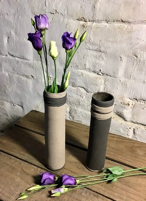black and grey ceramic vase handmade