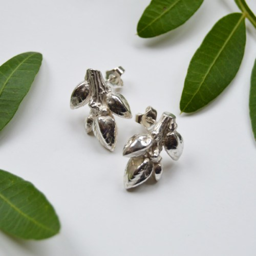 hallmarked Sterling Silver bud stud earrings