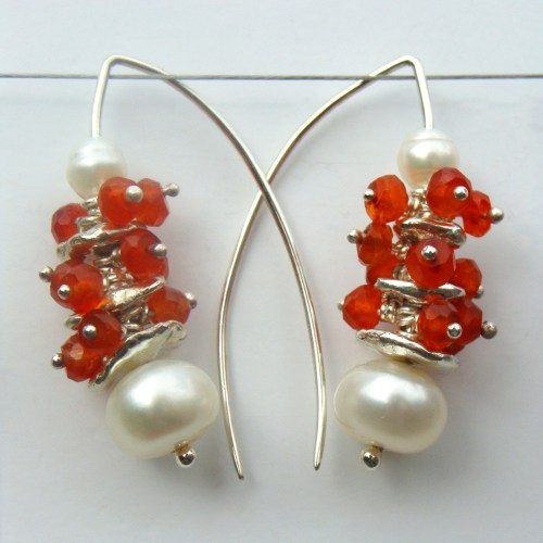 Carnelian Pebble Stack Drop Earrings
