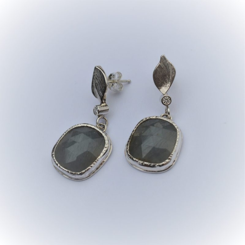 Grey Rose-cut Sapphires with Diamonds earrings VS quality set in Sterling Silver.
