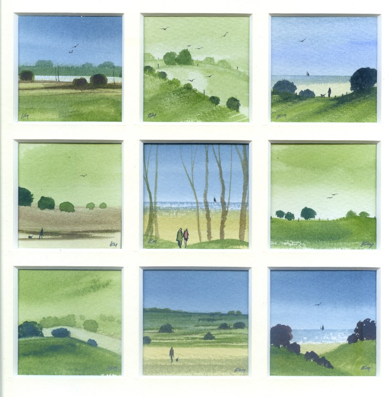Trees, Fields and Sea, watercolour from the Snapshots of Norfolk collection by Katie Millard