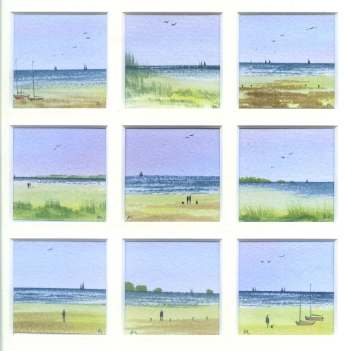 A Day by the Sea, watercolour from the Snapshots of Norfolk collection by Katie Millard