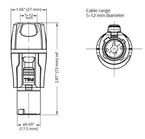 Marinco 20A, Inline, Blue (PowerCon compatible)