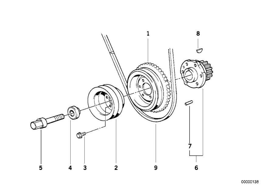 BMW 525i Vibration damper. Drive, Engine, Crankshaft, Belt