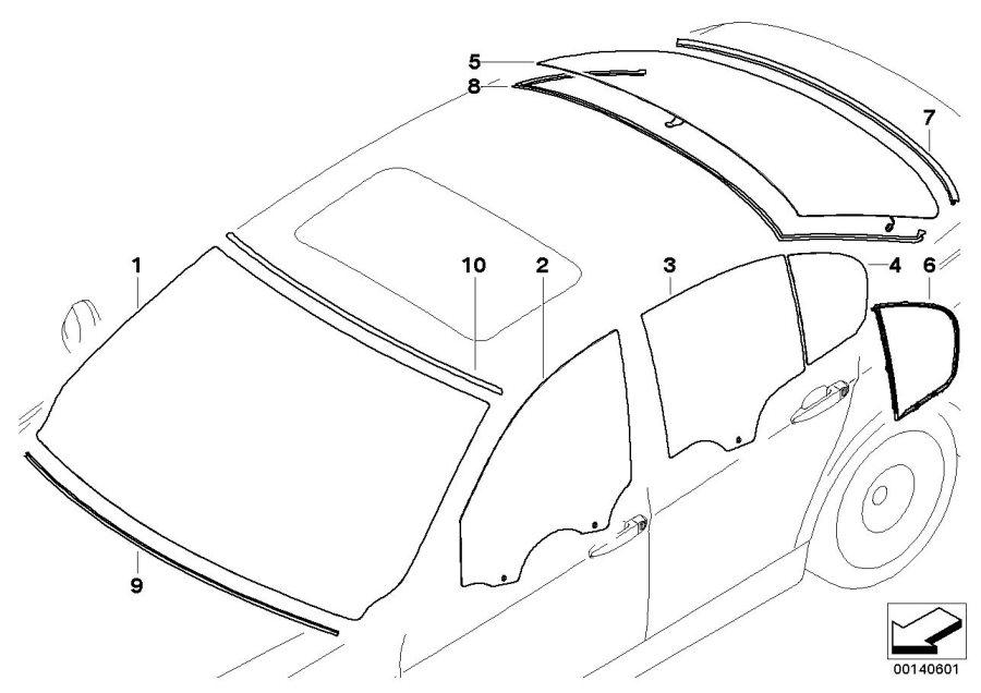 BMW 325i Green windscreen, grey shade band. Yes, Glazing