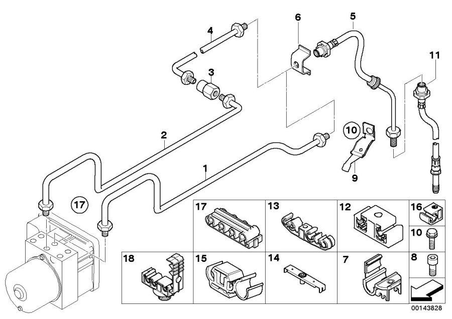 BMW Z4 Brake pipe bracket. Rear, front, brakes