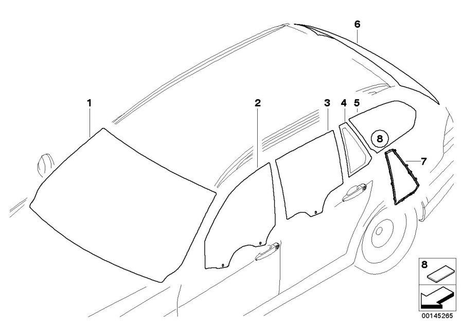BMW 328i Green windshield, rain sensor. Yes, Glazing