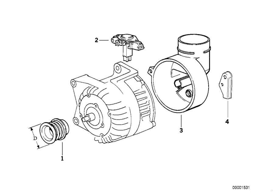 1993 BMW 325i Voltage regulator. BOSCH. Alternator