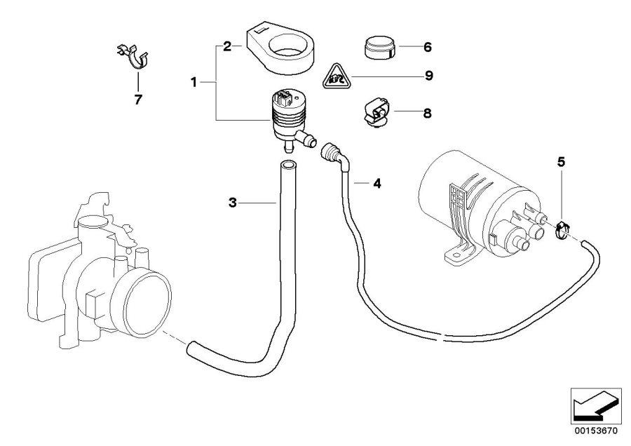2002 BMW 320i fuel tank breather line. SYSTEM, Valve