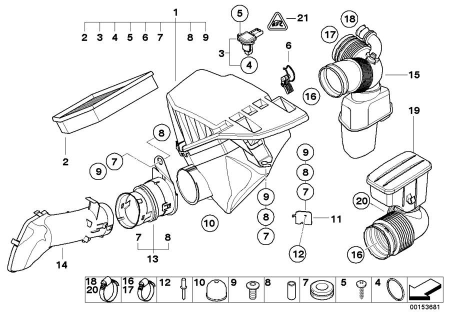 2007 BMW 525xi Air filter element. Intake, Service, Oil