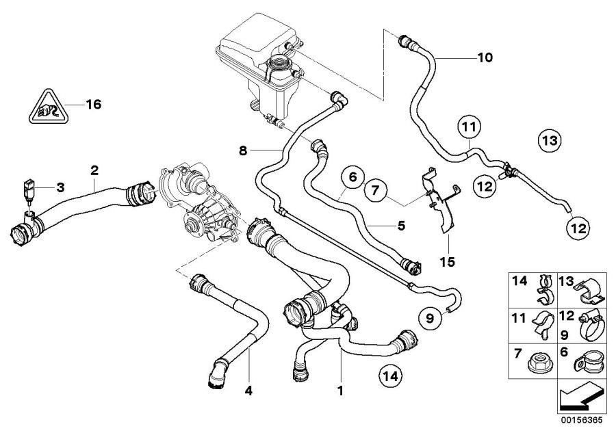 2006 BMW 750i Return pipe. Cooling, System, Hoses