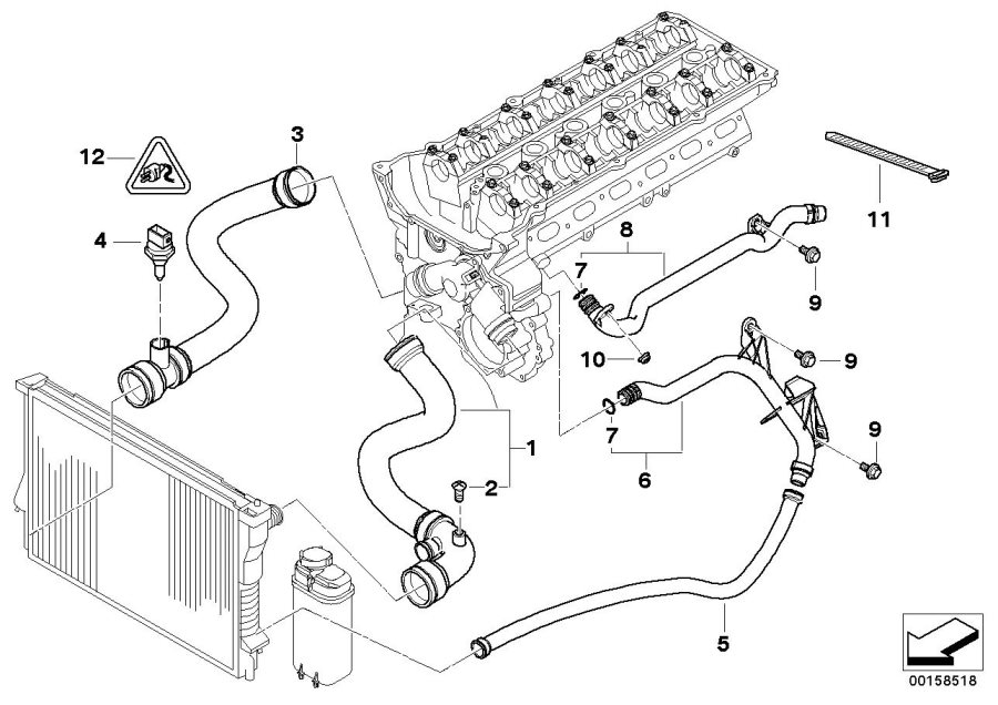 BMW 323i Water pipe. Cooling, System, Hoses, Engine