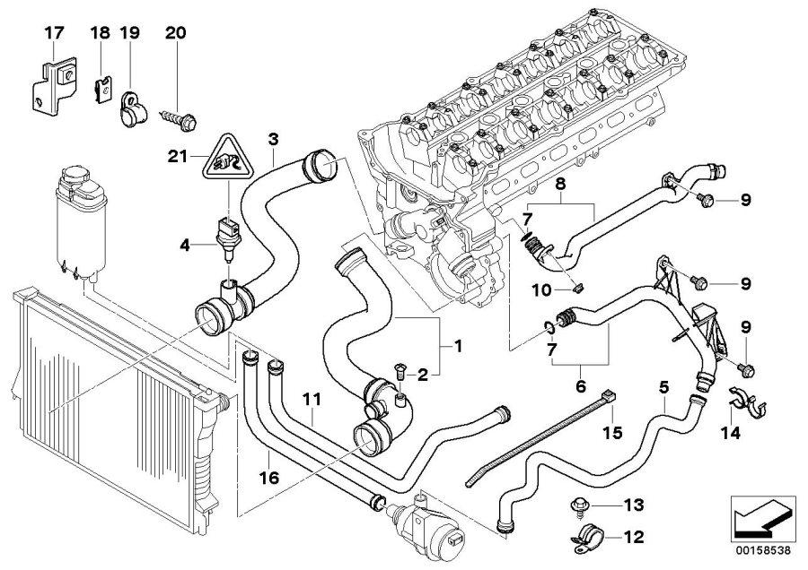 2003 BMW 530i Water hose. Engine, cooling, hoses