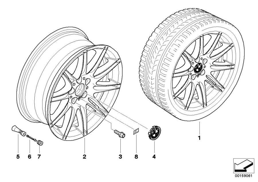 2011 BMW 335is Light alloy rim. 9JX19 ET:39. Wheels, Wheel