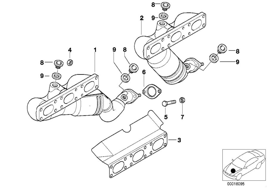 2004 BMW 325Ci Exch. Exhaust manifold with catalyst. ZYL