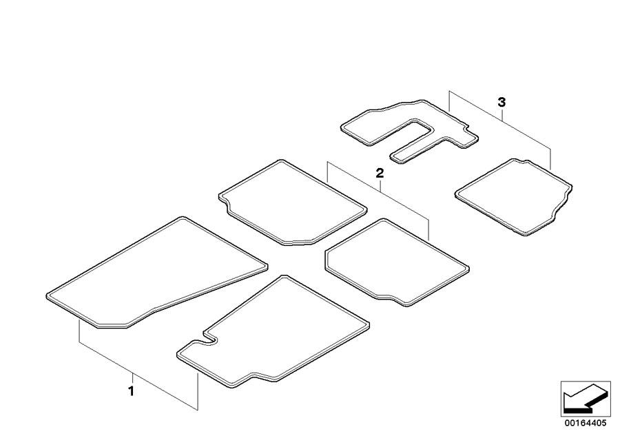 BMW X3 Rubber floor mats. E83 BLACK FRONT. Interior