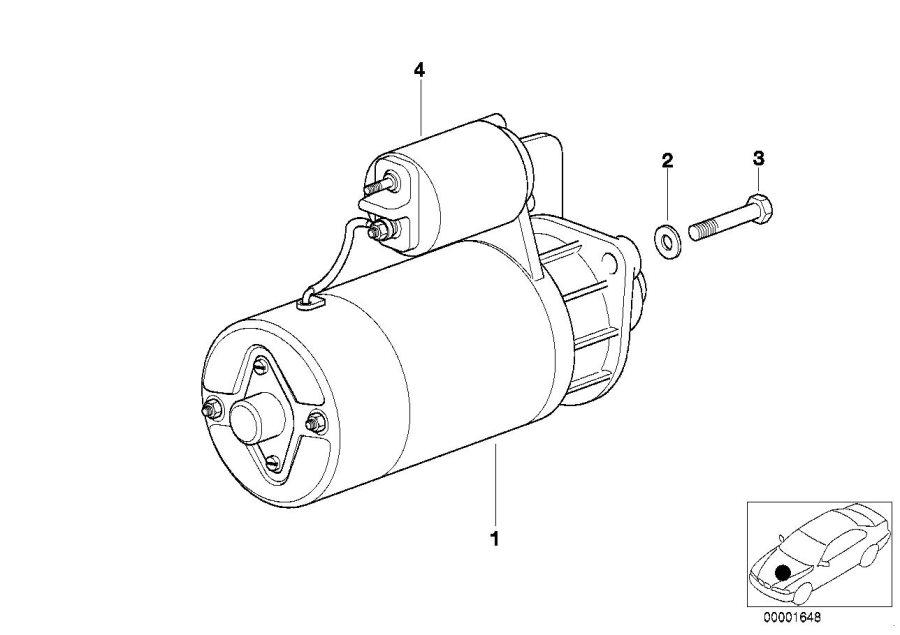 BMW 328i Exch. Starter motor. 1, 4 KW. Engine