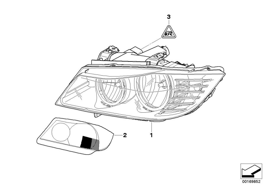 BMW 328i Bi-xenon headlight, right. ZKW. System