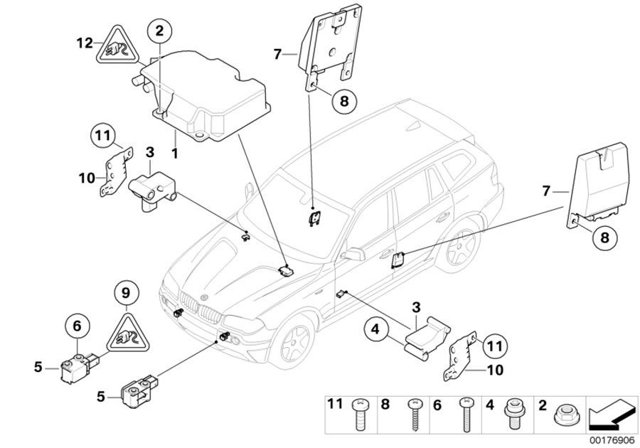 BMW X3 Accelerating sensor. Electric, Airbag, Electrical
