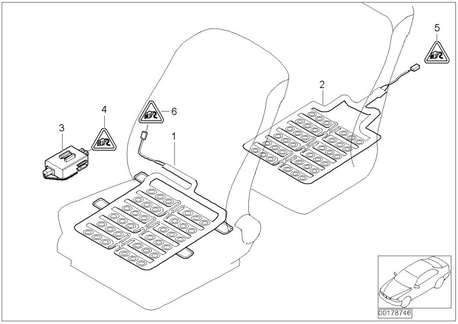 2003 BMW 745Li Sensor mat, front seat. Airbag, Electrical