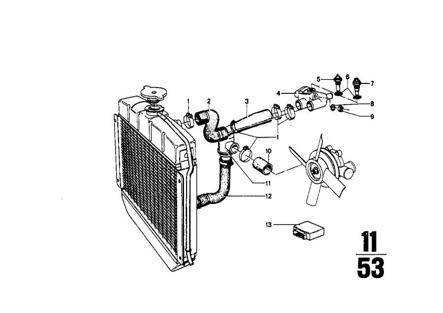 1974 BMW 2002 Divider. Cooling, hoses, engine