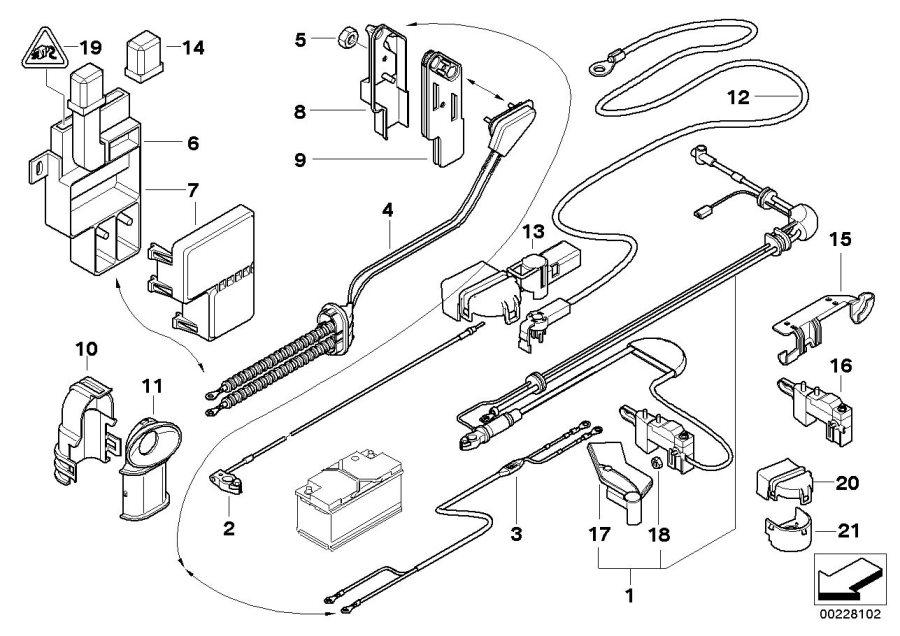 BMW 745i Battery cable, power module/pow.distribut. L