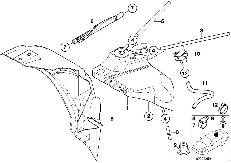1998 BMW M3 Fuel tank pressure sensor. System, expansion