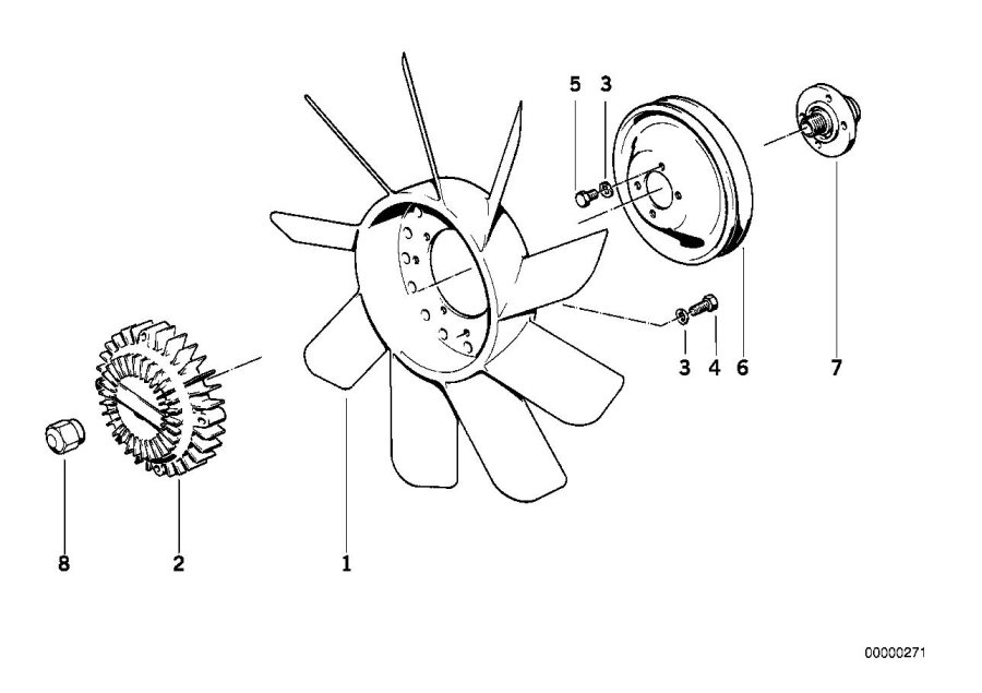 BMW 635CSi Fan 11 blade. D=410MM. Cooling, Engine