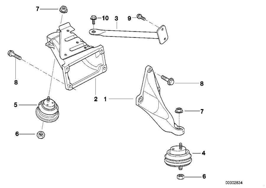 1998 BMW 528i Engine support, left. Suspension