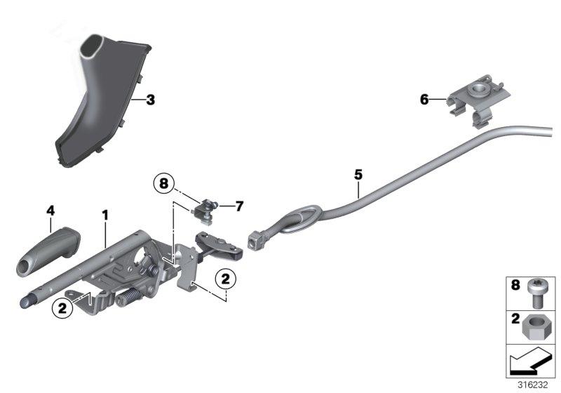 2016 BMW 335i Clip retainer. Brake, Fuel, Lever
