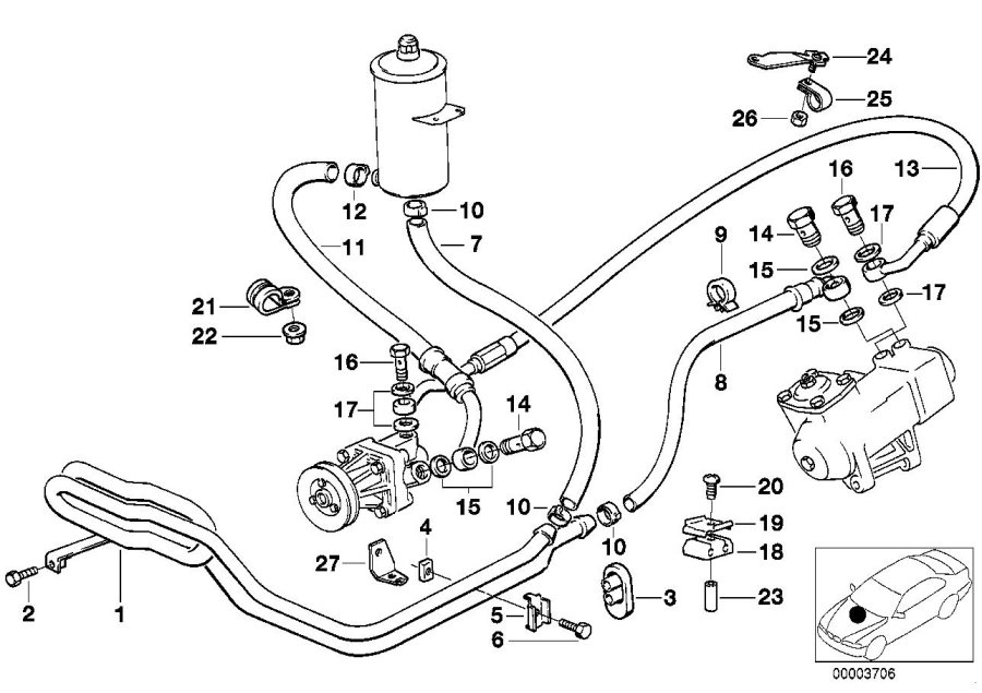 1993 BMW 735iL Hose clamp. D=20, 9-24, 1. System, Steering