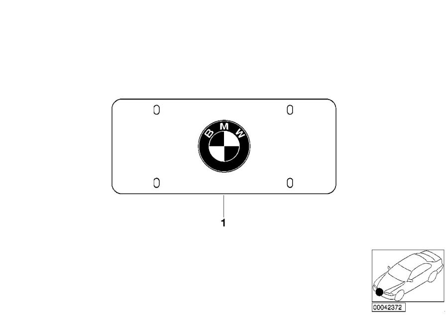 BMW X5 Number plate frame Roundel. BLACK MARQUE. Exterior