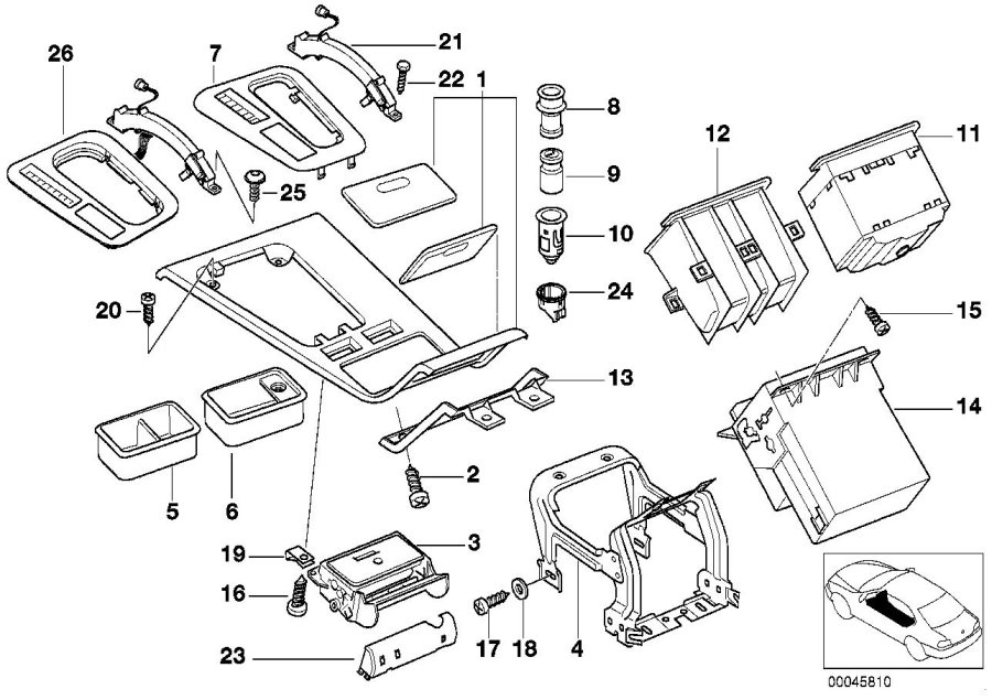 BMW 740i Center console insert. Body, armrest, trim