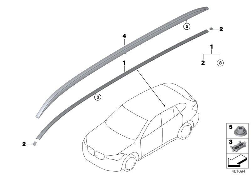 BMW X1 Roof rails aluminium satinated left. Trim