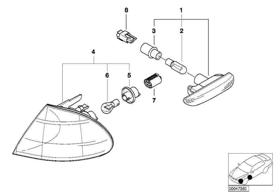1999 BMW 323i Bulb socket. Front, Side, Electrical