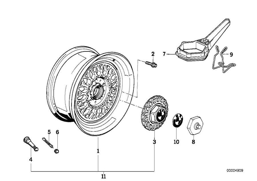 BMW 535i Light alloy rim. 7JX15 ET:20. Wheels