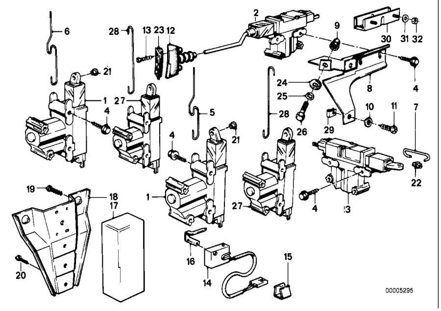 BMW 318is Actuator f front door. Locking, key, body