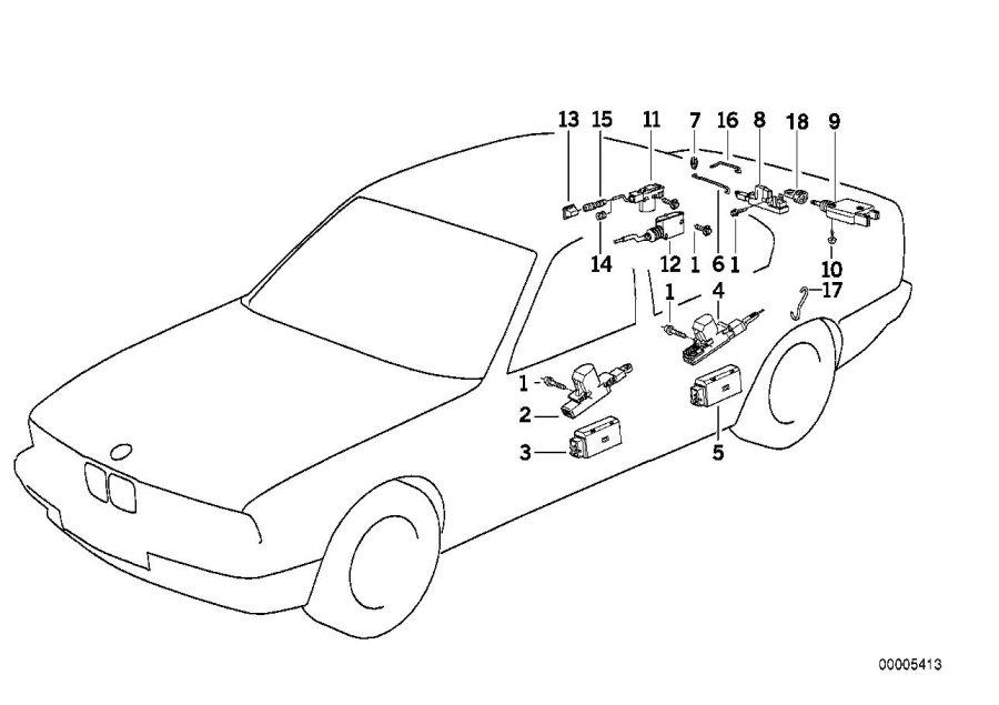 1992 BMW 535i Actuator f front door. Trim, body, key
