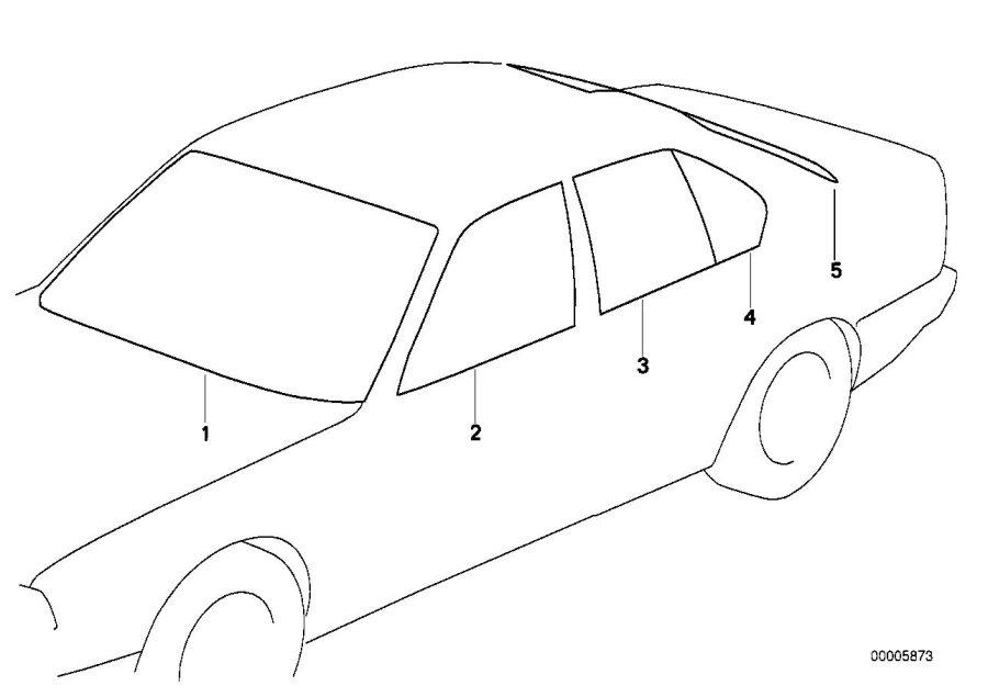 BMW 325i Green windshield. Glazing, Trim, Body