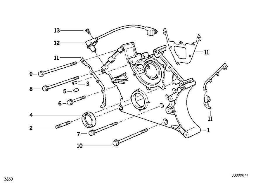 1996 BMW 540i Crankshaft speed sensor. System, Engine