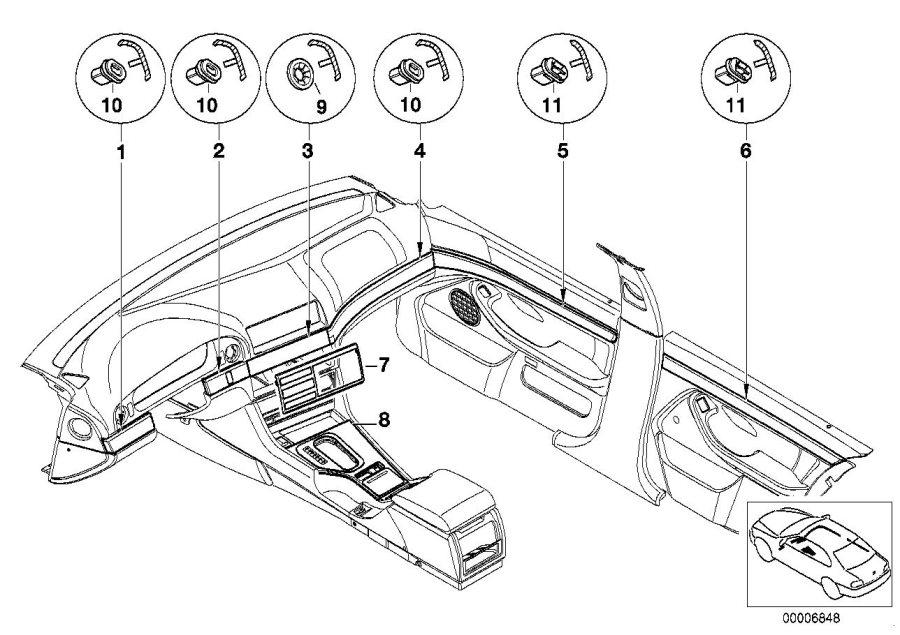 BMW 525i Center console insert, centre. Mattchrom. Trim
