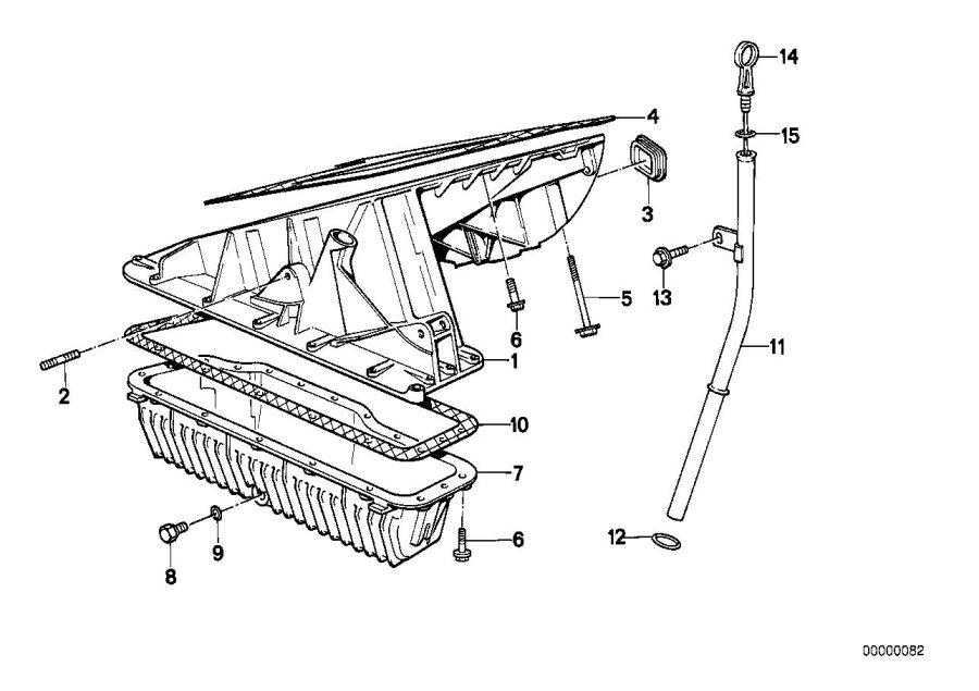 BMW 318i Oil pan upper part. Engine, housing, dipstick