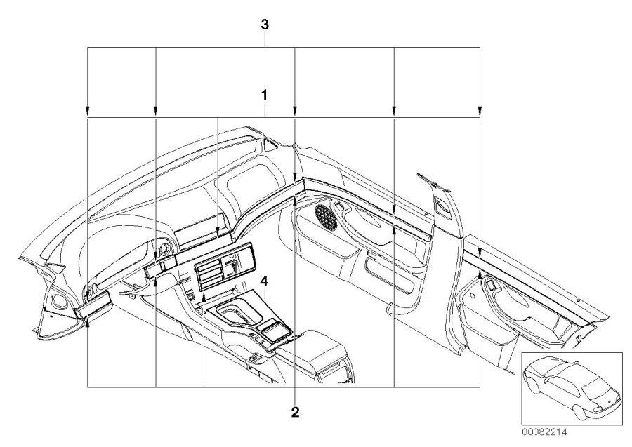 BMW 525i Center console insert, centre. Schwarz. Trim