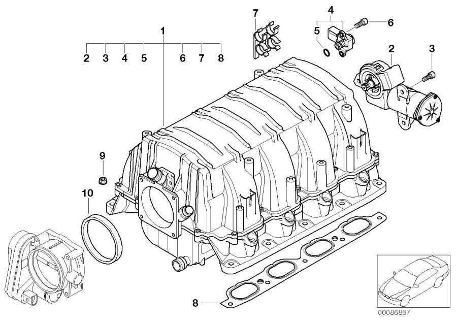 BMW 645Ci Differential pressure sensor. Engine, Manifold
