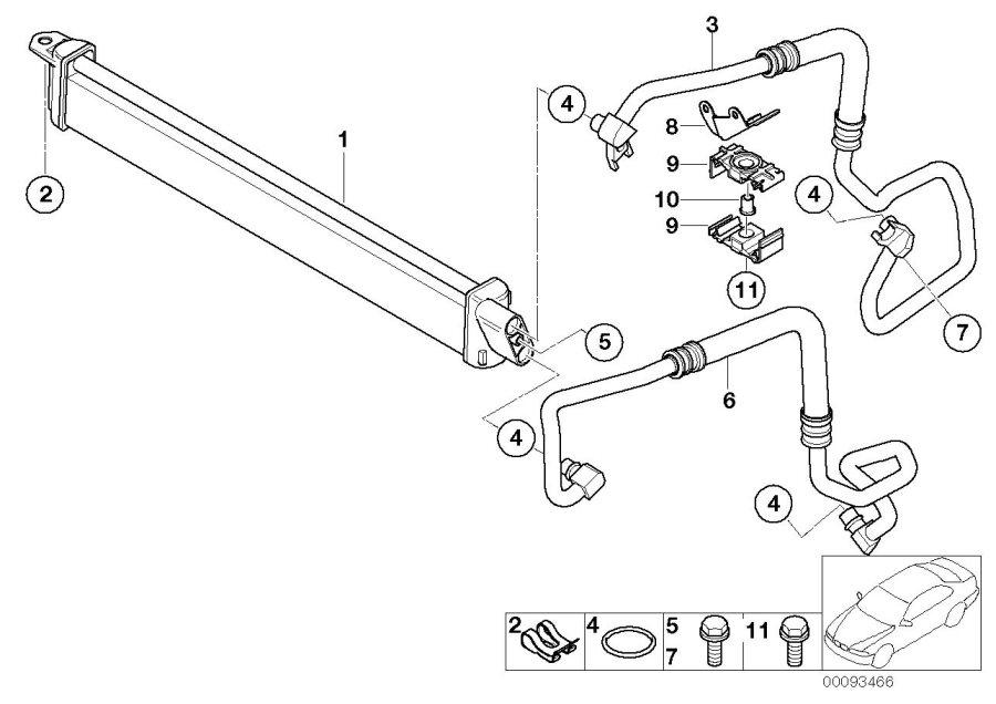 BMW 750Li Oil cooling pipe outlet. Cooler, radiator, line