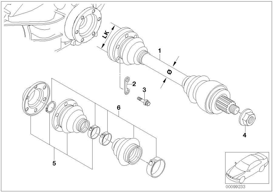 2010 BMW 135i Repair kit bellows, interior. Shaft, Output