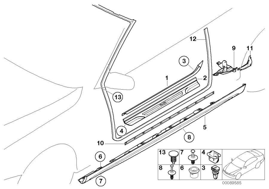 1958 BMW Sill strip clip. Trim, body, equipment