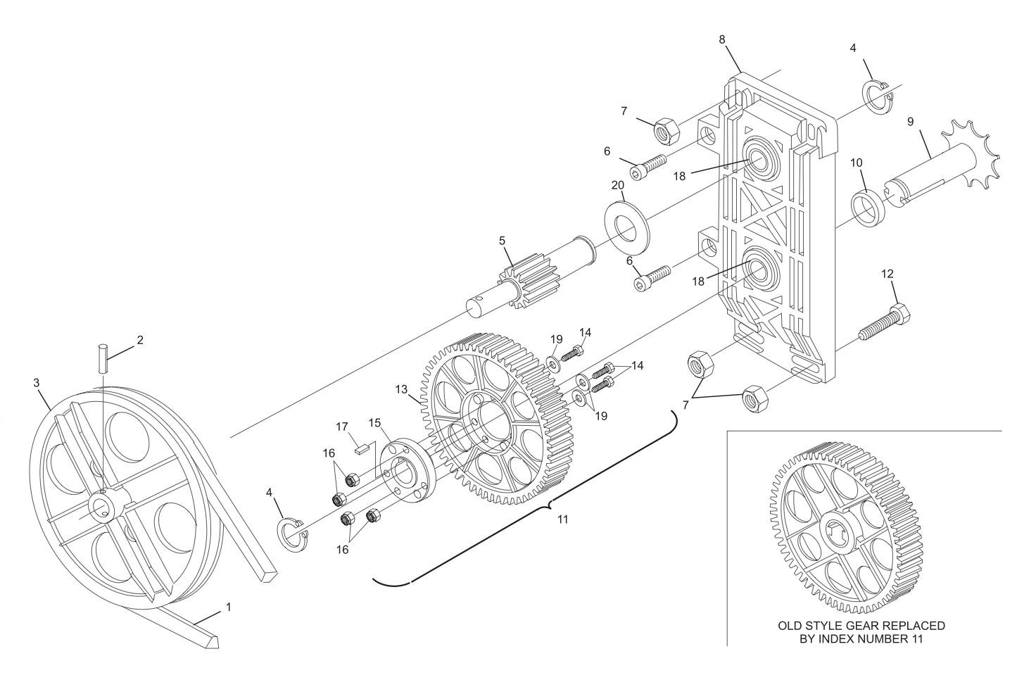 Table Gear Sweep Gear And Pulley Drive Assembly