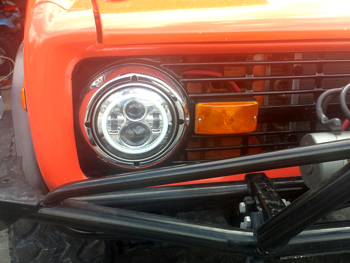 hight resolution of 1966 1978 ford bronco and f series truck chrome led headlights w halo