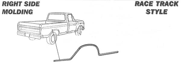 1973-1979 Ford F Series Truck Body Side Trim, Lower